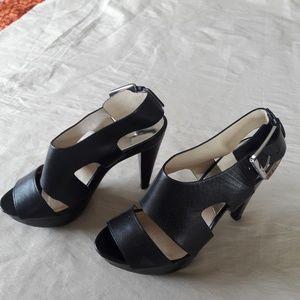 Michael Kors Black Platform Peep Toe Heels